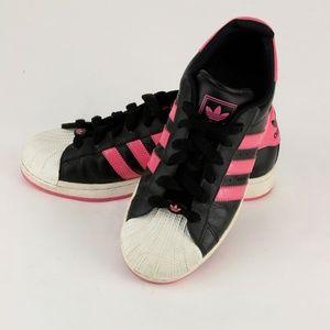 adidas Superstar Shell Toe RARE Black w/ Hot Pink
